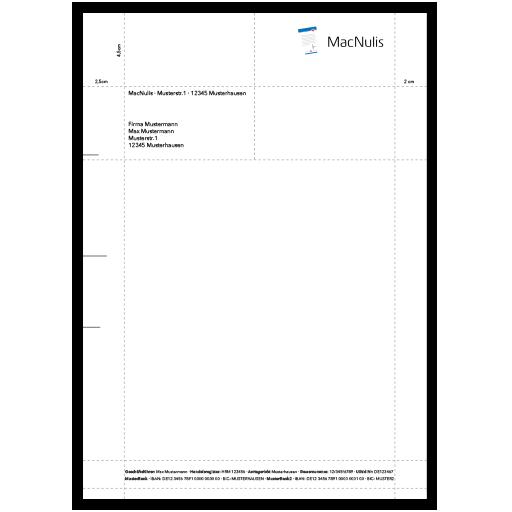 Beispielhafte schematische Darstellung eines rechtskonformen und normgerechten Designs für einen Firmenbriefbogen